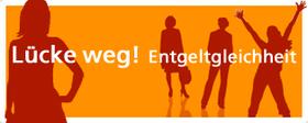 Motiv: Rote Silhouetten von Frauen auf organen Hintergrund. Text: www.entgeltgleichheit.de