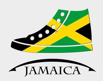 Skizze eines Turnschuhs von der Seite in den Farben Jamaikas (schwarz-gelb-grün).