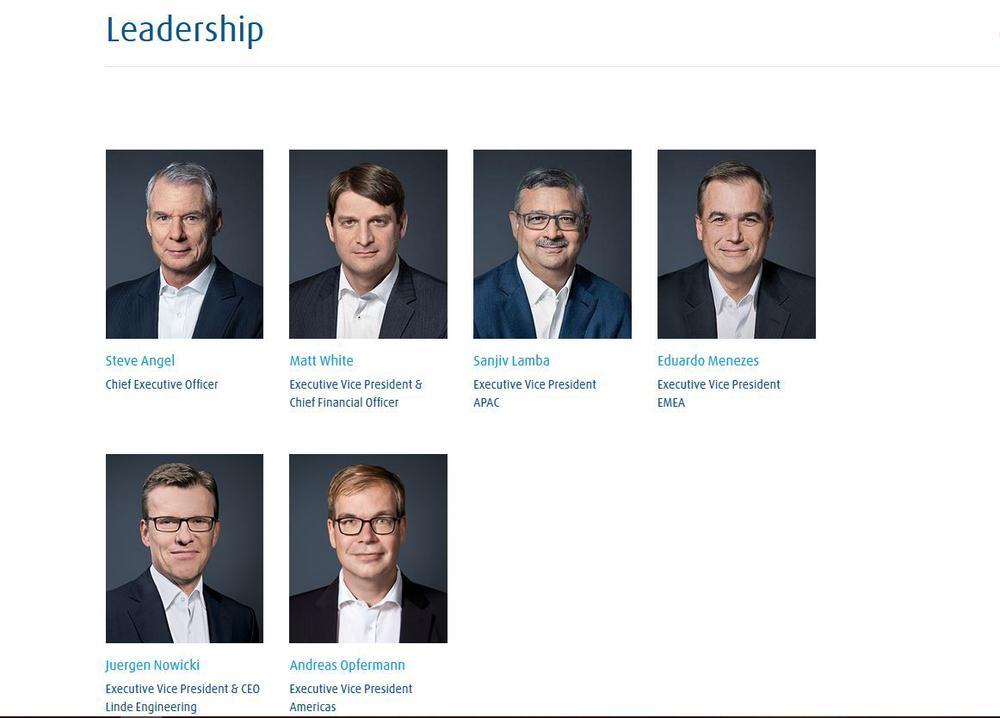 Sechs Porträtfotos der Vorstandsmitglieder von Linde, vier in der oberen Reihe nebeneinander, zwei in der unteren.