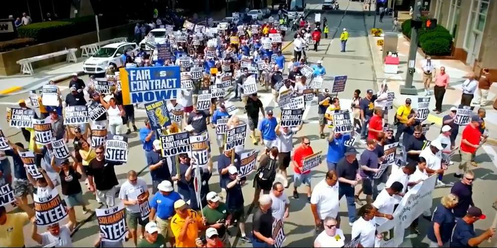 Demonstration von amerikanischen Arbeitern