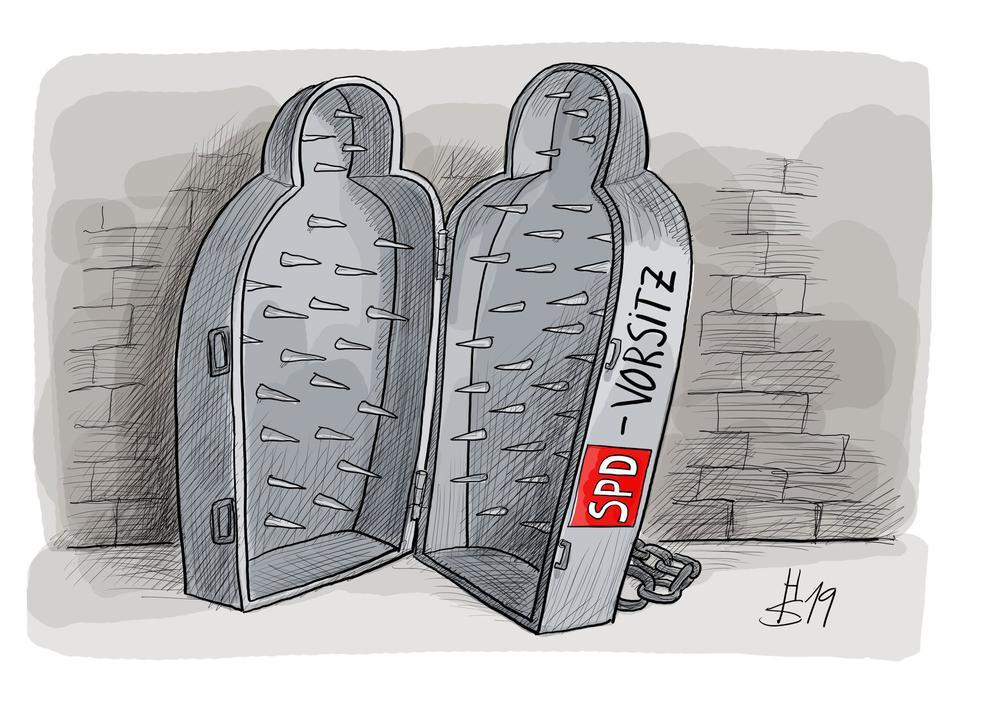 Karikatur von einem Koffer mit langen Nägeln für die SPD.