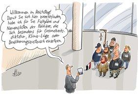 Karikatur von Besuchern im Parlament, denen ein Abgeordneter den Weg weist.