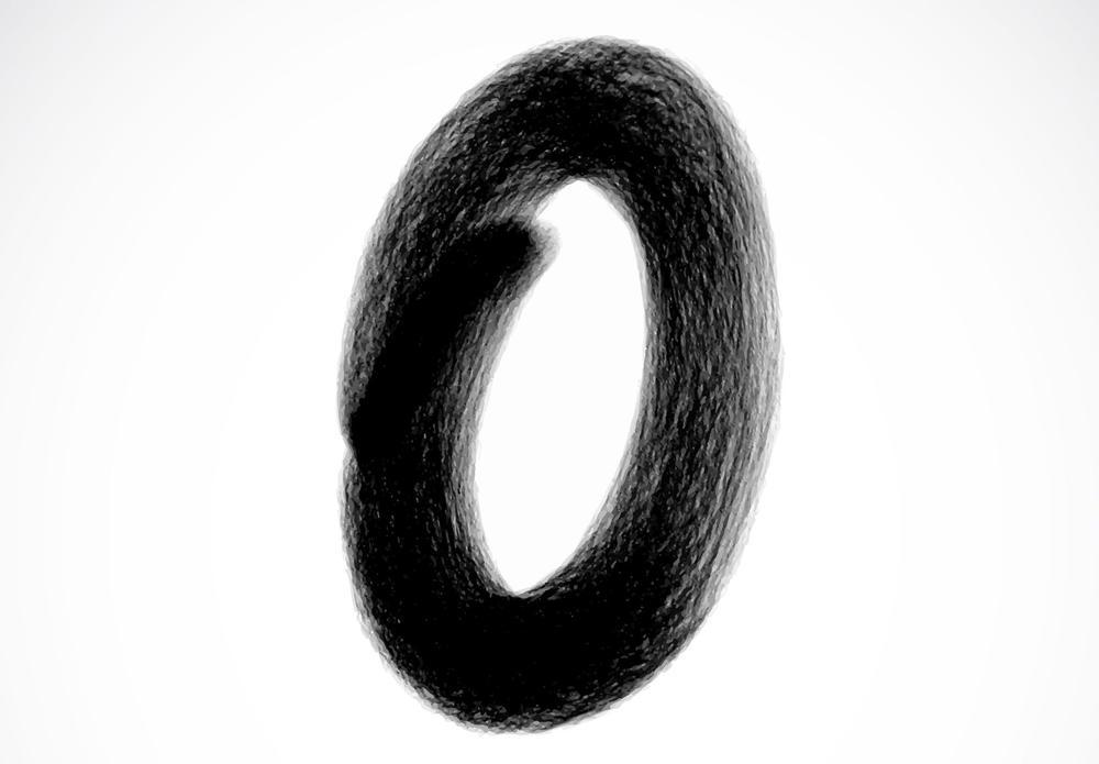 Eine schwarze Null mit einem groben Pinsel aufgeschrieben.