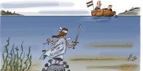 """Karikatur von Viktor Orbán, der in einem Boot davonfährt, nachdem er eine Statue mit der Aufschrift """"Demokratie und Rechtsstaat"""" mit einem großen Virus im Meer versenkt hat."""