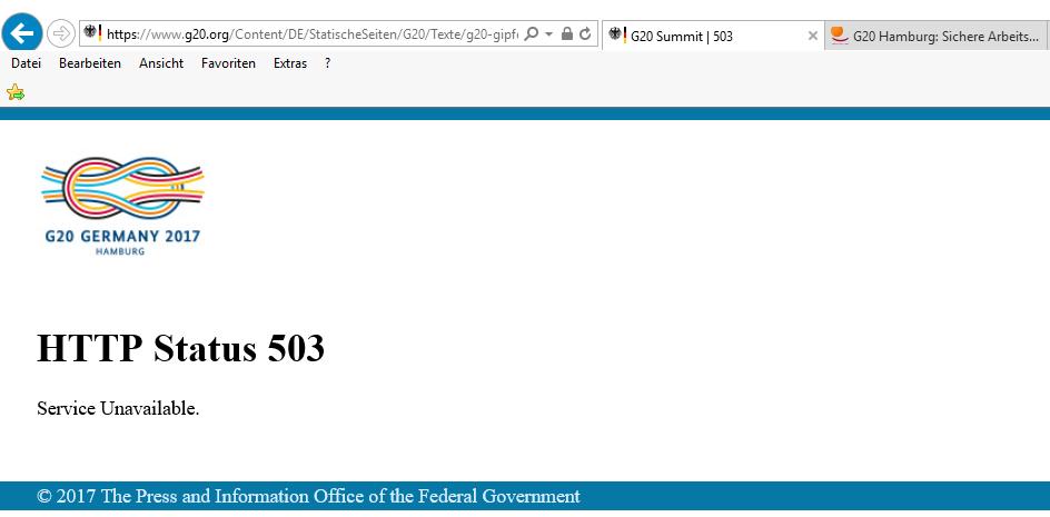 Die Seite der Bundesregierung zum G20-Gipfel ist nicht zu erreichen.