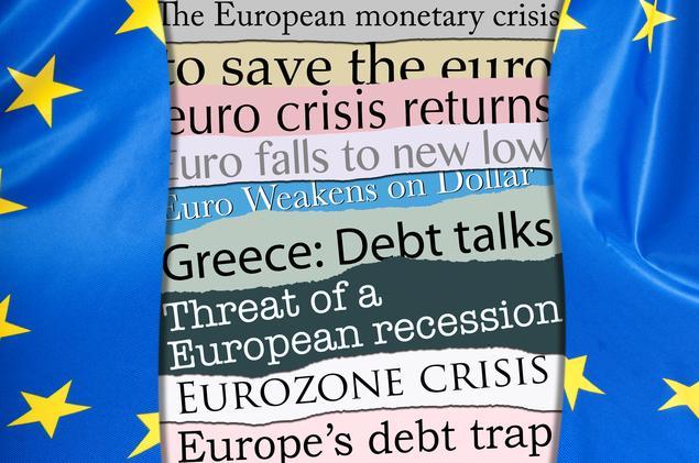 Fahne Euro Krise Europa