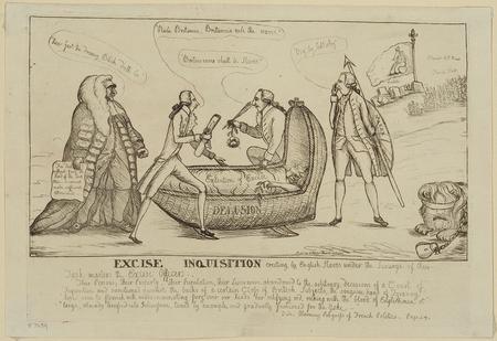 Zeichnung eines Steuereintreibers an einem Totenbett