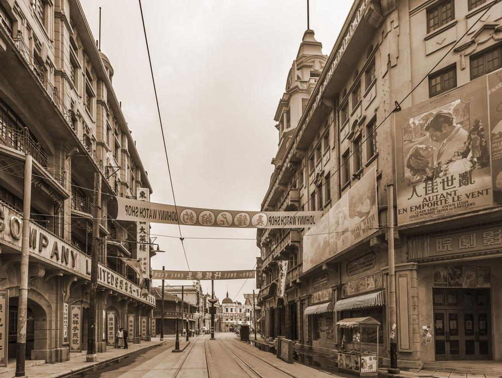 Historisches Bild von Shanghain in Schwarz/Weiß.