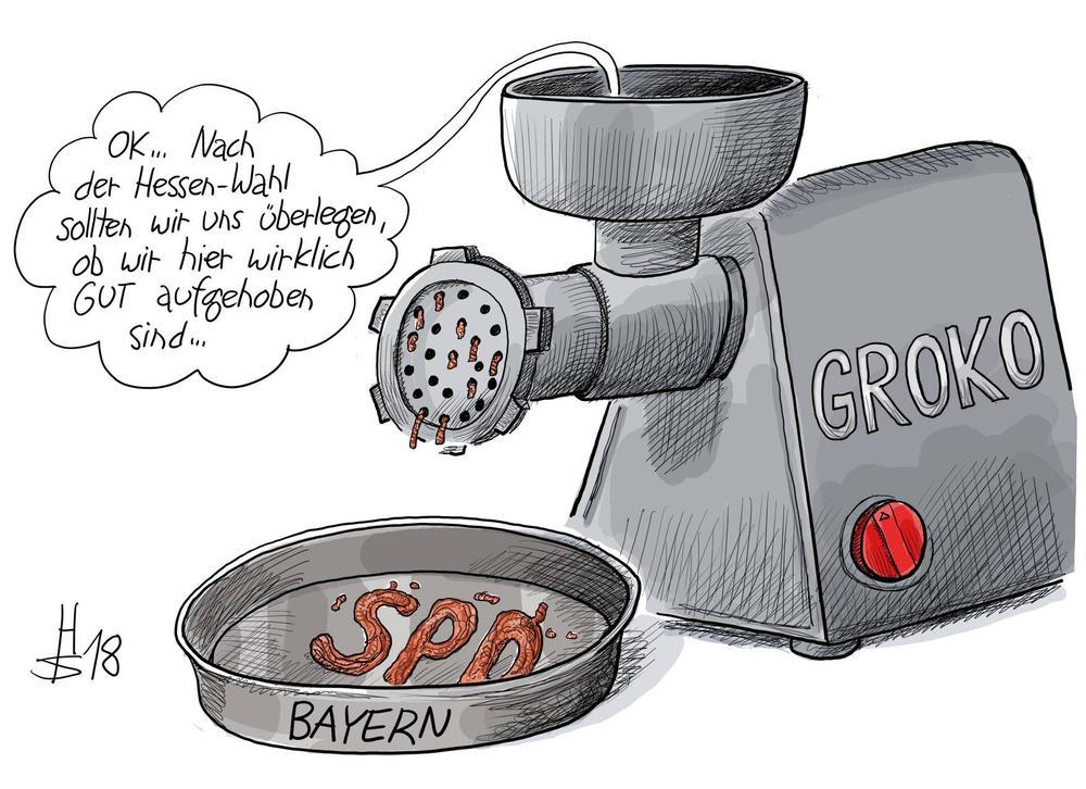 """Karikatur von einem Fleischwolf, auf dem GroKo steht. Vorne herausgekommen ist Hackfleisch, das in einer Schale zu den Buchstaben """"SPD"""" geformt ist."""