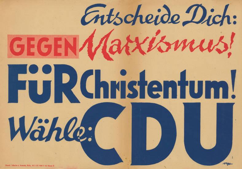 Wahlplakat der CDU 1949