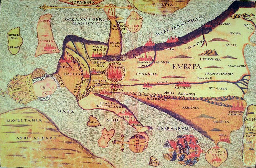 Mittelalterliche Karte von Europa in Gestalt einer jungen Königin.