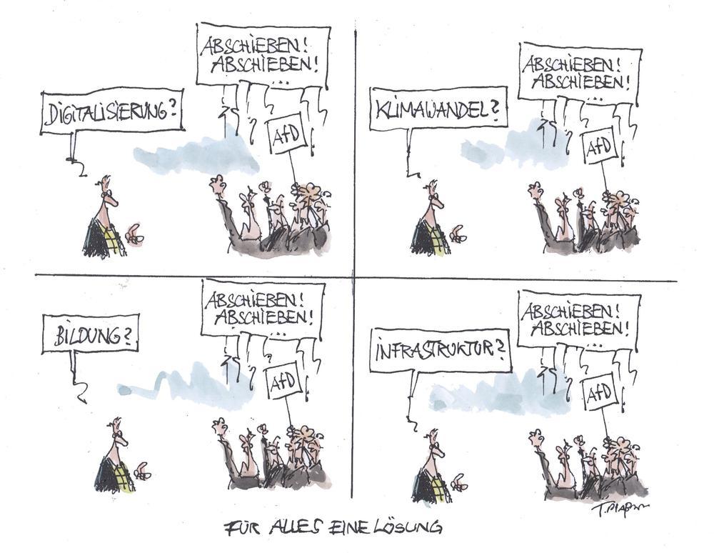 Karikatur zu Demonstrationen von Afd-Anhängern und Neonazis.