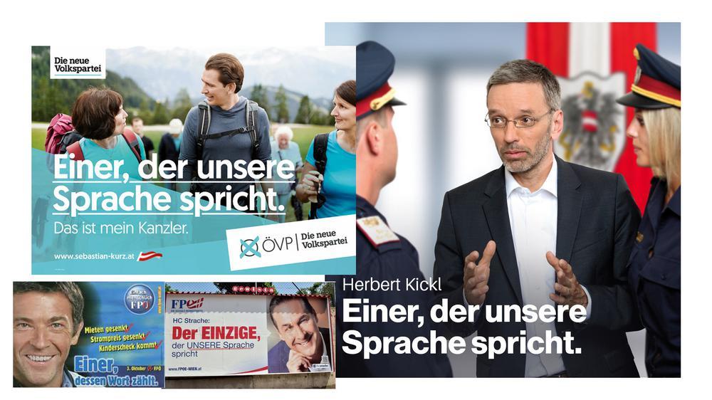 Wahlplakate alle mit dem gleichen Spruch, einmal mit Jörg Haider von Anfang der Neunziger Jahre, eines mit Herbert Kickl aktuell, eines von vor einigen Jahren mit Heinz-Christian Strache, eines aktuell mit Sebastian Kurz.