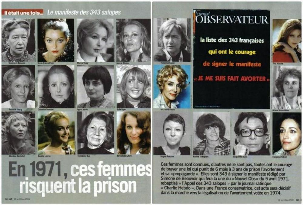 """Doppelseite im Magazin """"Nouvel Observateur"""" aus dem Jahr 1971 mit Portraits von Frauen, die sich zu einer Abtreibung bekennen."""