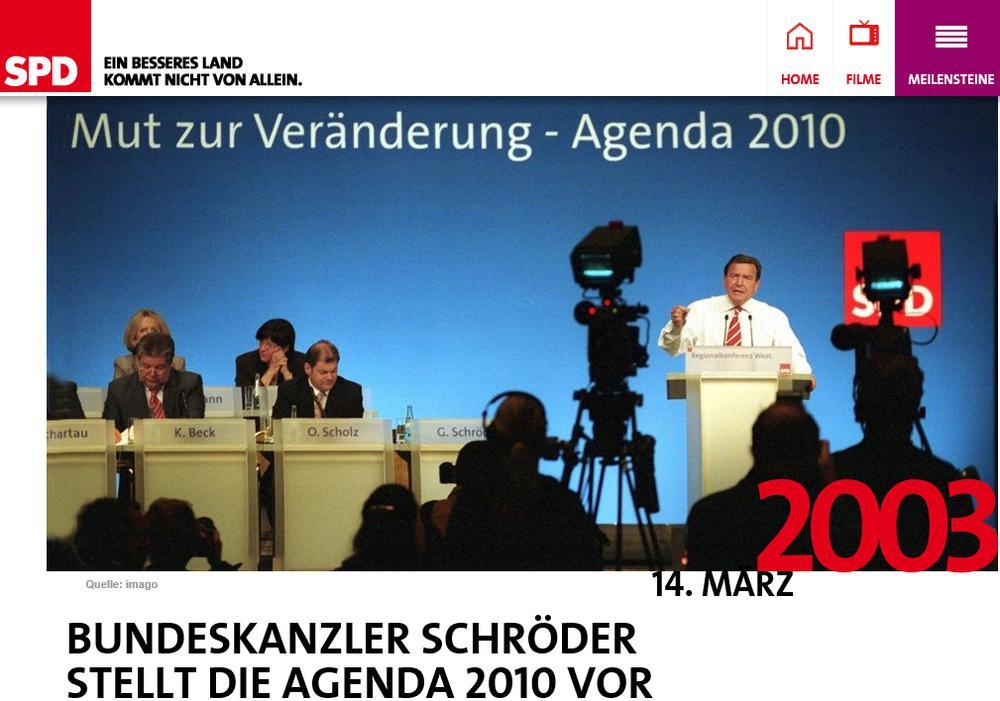 Gerhard Schröder bei der Vorstellung der Agenda 2010 am Rednerpult.