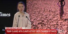 Greta Thunberg spricht beim Weltwirtschaftsforum in Davos vor dem Hintergrundfoto einer ausgetrockneten Landschaft.