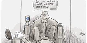 Karikatur von Donald Trump, der auf einem Steinsitz thront, so wie die Statue von Präsident Lincoln in dem ihm gewidmeten Denkmal in Washington.