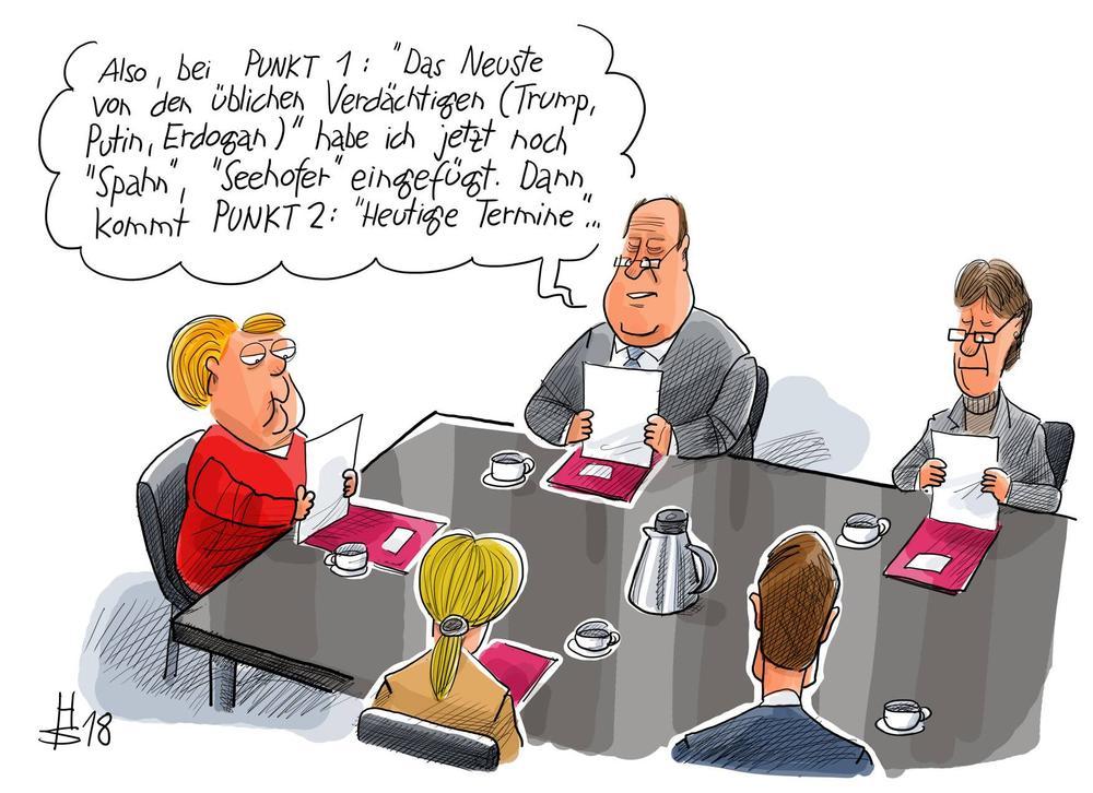 Karikatur: Kanzlerin Merkel sitzt mit ihren Mitarbeitern an einem Konferenztisch.