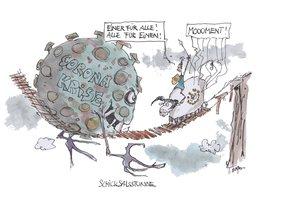 Karikatur von einer brüchigen Holzbrücke, auf der einen Seite ein dicke Darstellung des Corona-Virus, auf der anderen Seite ein zögerlicher Stier, der Europa symbolisiert.