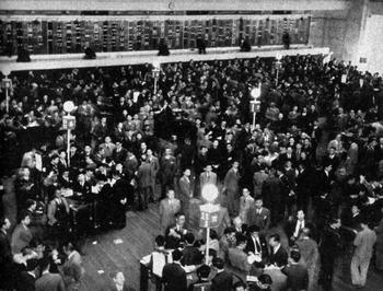 Historische Aufnahme der Börse von Tokyo aus dem Jahr 1950.