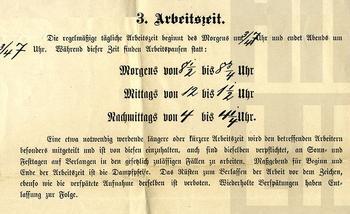 Regeln zur Arbeitszeit eines Unternehmens im Jahr 1898