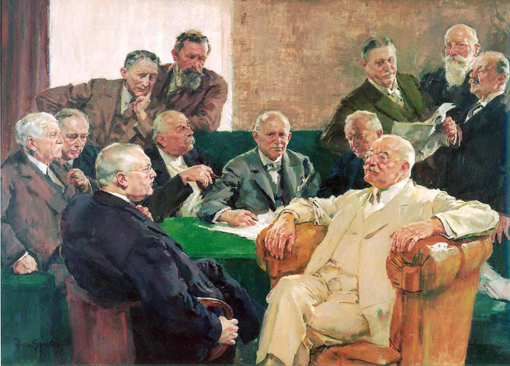 Ölgemälde einer Gruppe Männer in Anzügen, die in Sesseln und auf einem Sofa um einen Tisch sitzen. Alle sind mittleren Alters und sehen wohlhabend aus.