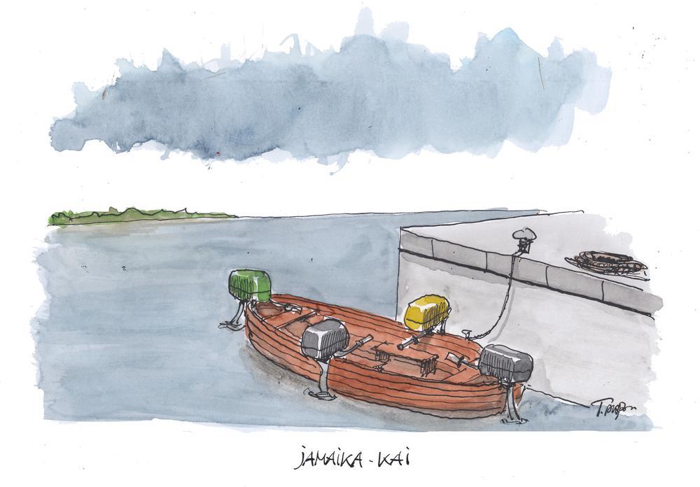 Karikatur mit einem kleinem Boot, an dem auf vier Seiten ein Motor in einer anderen Farbe ist, um in jeweils eine andere Richtung zu steuern.