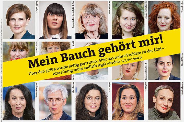 """Auszug der Titelseite der Wochenzeitung """"der Freitag"""" vom 14.2.2019 mit Portraits von Frauen, die für die Abschaffung des §218 eintreten."""