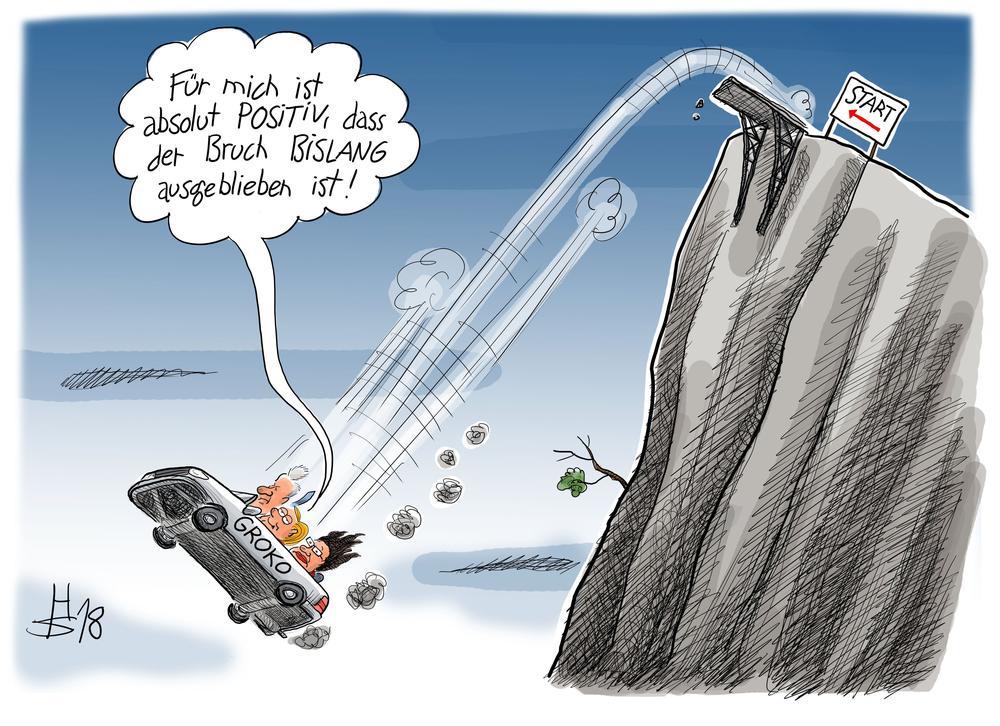 Karikatur von einem Auto, das von einer Klippe gestürzt ist. Darauf steht GROKO, drin sitzen Merkel, Seehofer und Nahles