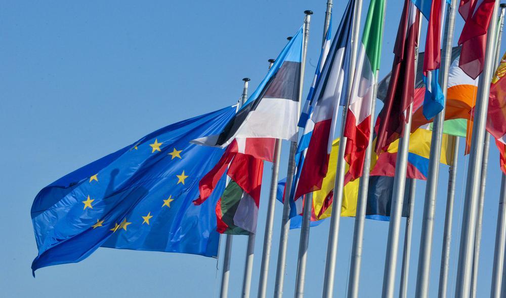 Die Europaflagge flattert an einem Fahnenmast in voller Größe, daneben hängen etwas lasch im Wind die Flaggen der Mitgliedsstaaten.
