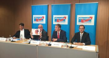 AfD-Politiker Björn Höcke mit zwei Kollegen auf einem Podium.
