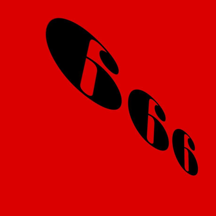 Rote Fläche, auf der schräg von links oben nach rechts unten die Zahl 666 steht.