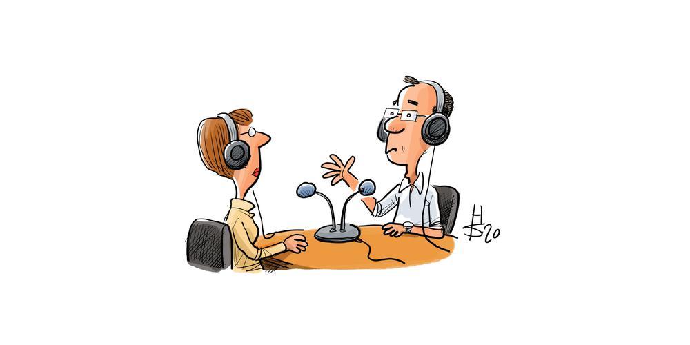 Cartoon von zwei Personen an einem Tisch, auf dem Mikrophone stehen.