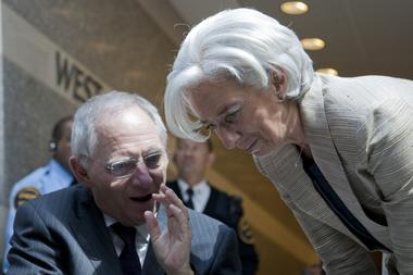 Wolfgang Schäuble mit Christine Lagarde im Gespräch