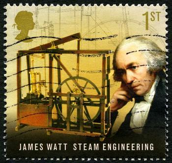 Briefmarke von James Watt aus Großbritannien.