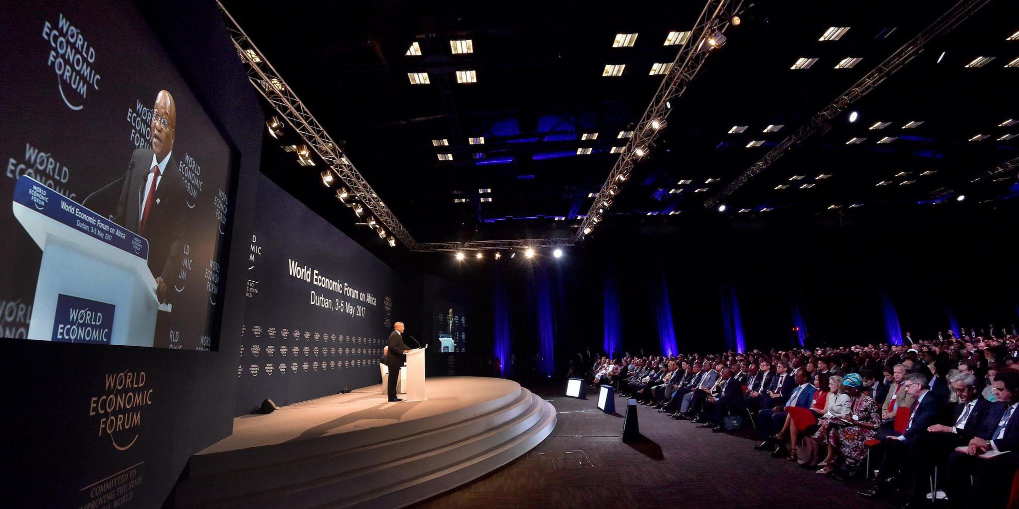 Südafrikas Präsident Jacob Zuma hält eine Rede vor dem Weltwirtschaftsforum in Davos 2014.